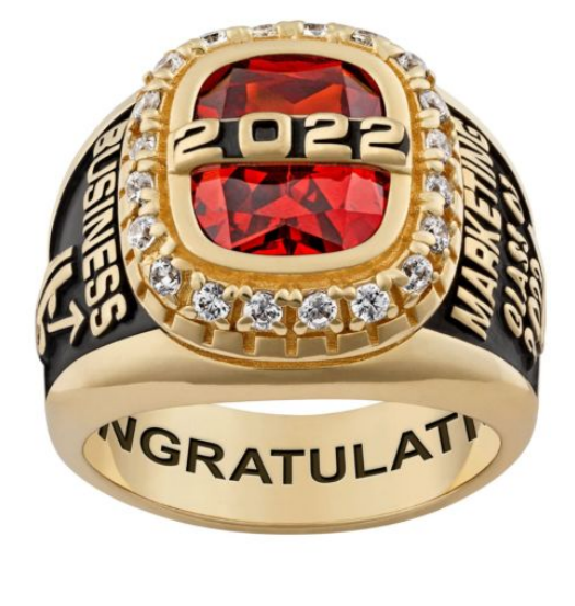 Close-up of a women's Graduation School Ring. Year of your choice